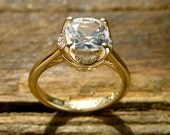 Cushion Cut White Sapphire Engagement Ring in 14K Yellow Gold with Diamonds Scrolls and Filligree Size 5