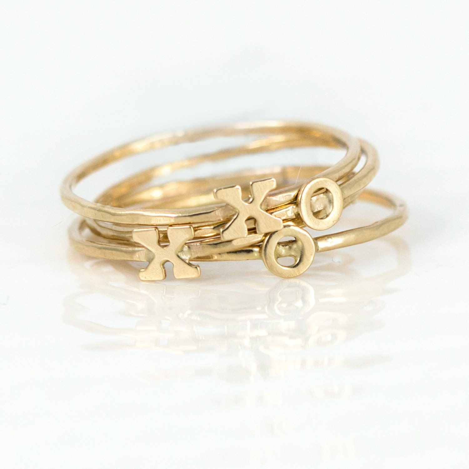 initial stacking ring 14k gold stacking by melaniecaseyjewelry