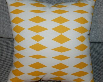 Yellow and white pillow cushion case, diamond pattern, from Finland