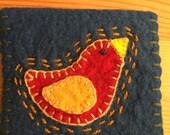 Wool felt embroidered needle case