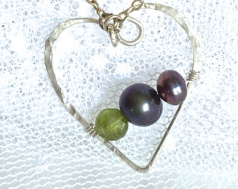 Sterling Heart Pendant, Pearls, Peridot Wire Wrapped in Hand Formed Sterling Heart