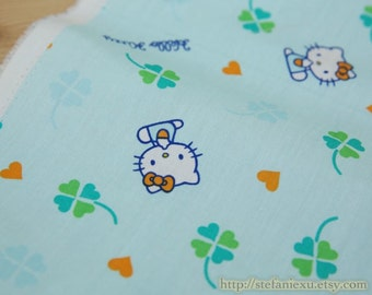 Lovely Blue Green Four Leaves Lucky Clovers Hello Kitty Lands - Japanese THIN Cotton Fabric (Fat Quarter)