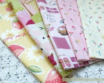 S061 Linen Fabric Scraps Bundle Set - French Country Garden Pink Strawberry Little Flower Spring Color (5PCS, 9.4x9.4 Inches)