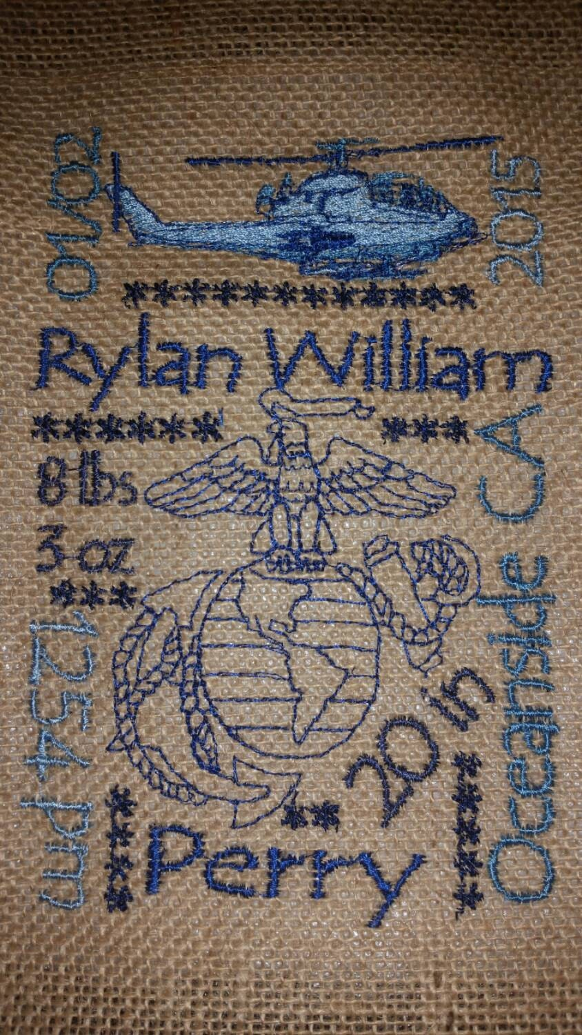 8x10 Burlap Baby Birth Announcement With Eagle Globe Anchor