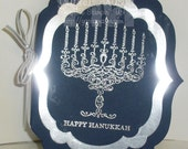 Elegant Hanukkah Card in Navy Blue and Silver