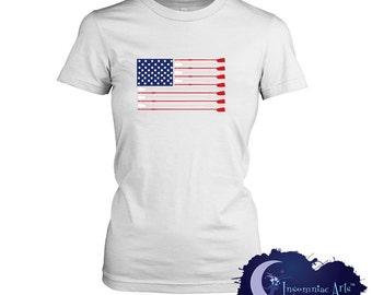 USA Rowing Crew Flag Ladies T-Shirt