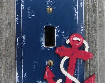 ANCHOR Switch Plate Cover - Hand Painted Wood