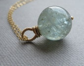 Moss Aquamarine Gold Fill Chain Necklace Natural Stone March Birthstone
