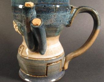 Dieselpunk Cyberpunk or Steampunk ceramic art cup 4