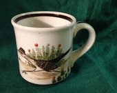 Vintage Mug ROADRUNNER Coffee Cup Stoneware Southwestern with Raised Glaze