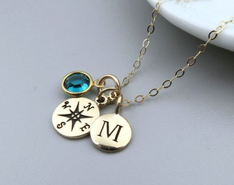 Gold Compass Necklace Personalized, Compass Initial Birthstone Necklace 14k Gold Fill, Enjoy the Journey