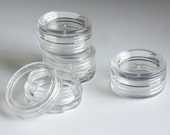 Mini clear plastic jars for beads, QTY 10, makeup samples, findings storage, 2ml, 2g sample size. Tiny containers. Clear plastic screw lid.