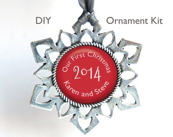 Photo Christmas Ornament Snowflake Kit . DIY. Silver plated. 25mm glass dome cabochon. Christmas ornament with photo or words. Glue option