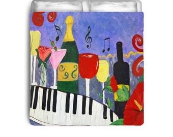 Piano Bar wine art comforter from my art