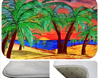 Mountains Sunset palms bathmat from my art