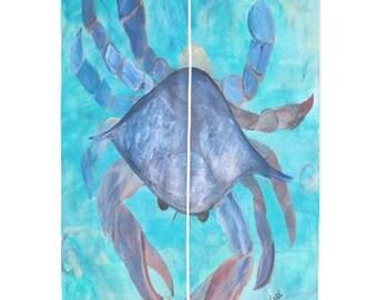 Blue Crab Tropical Shear Curtains