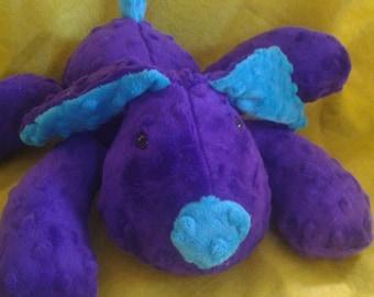 Stuffed Puppy Dog Soft Toy -  Purple and Turquoise Minky Dot Fabric - stuffed animal - minky dot dog - Plushie - Custom Colors - Floppy Ears