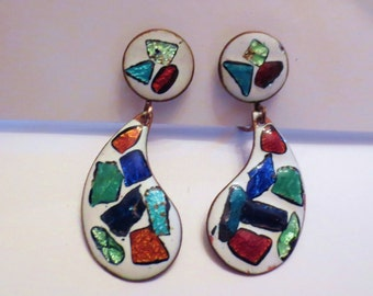 Earrings-  Abstract Design  vintage enamel- Picasso's palette