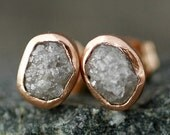 Rough Diamond and 14k Recycled Rose Gold Bezel Post Earrings- Made to Order