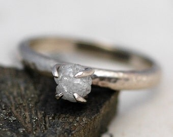 Prong-Set Rough Diamond Engagement Ring in Recycled 18k  Gold- Size C Diamonds