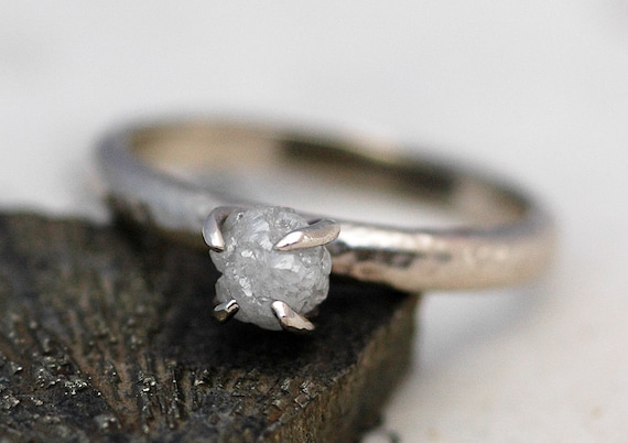 Conflict Free Rough Diamond Engagement Ring in Recycled 18k  Gold- One Carat Size C Diamonds