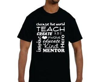Teacher Gift, Elementary Teacher, Subway Art Teacher T-shirt With Inspiring Words, Upto Size 2x, Worlds Best Teacher, Inspire, Teach