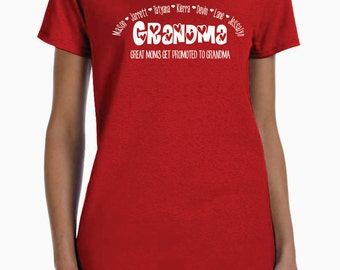 Great Moms Get Promoted To Grandma, Custom Shirt, Personalized With Names, Unique Mothers Day Gift, Birthday Gift Ideas, Grandma T-shirt