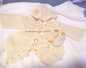 100 % Fishermans Wool, Going Home Outfit, Baby Outfit, Baby Shower Gift, New Born Baby Outfit,  Baby Girl or Boy Outfit, Hand Crocheted
