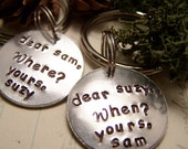 Set of Two Keychains. Moonrise Kingdom. Suzy and Sam. His and Hers. Friendship. Love