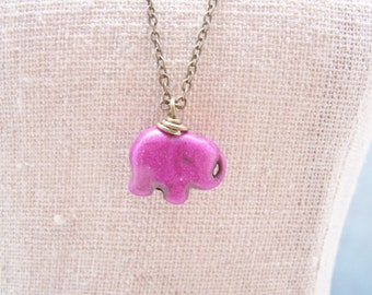 Lucky Elephant Necklace in Purple