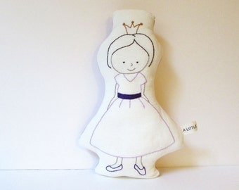 Princess Doll - Organic Pillow - Soft Toy - Hand Embroidered