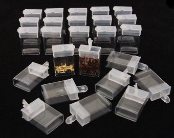 Pack of 25 Rectangle Clear Plastic Storage Tubes With Flip Tops 1.5""