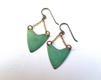 Verdigris Arrow Drop Earrings