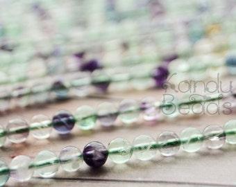 "Green Purple Pink Round Fluorite Beads 6mm 15""  Very Nice Quality (Aprox 60 Beads)"