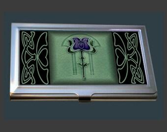Business Card Case - featuring an Art Nouveau Tile.