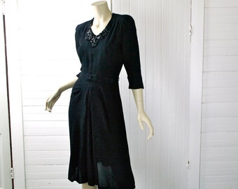 1940's Black Cocktail Dress- Pin Up- Sequins & Shoulder Pads, 40's- Small