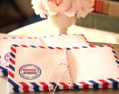10 Retro Air Mail Envelopes, Vintage Style Airmail Envelopes, Wedding Invite Envelopes, Snail Mail