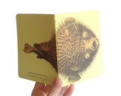 Pufferfish Notebook - Small yellow blank book with nautical natural history illustration