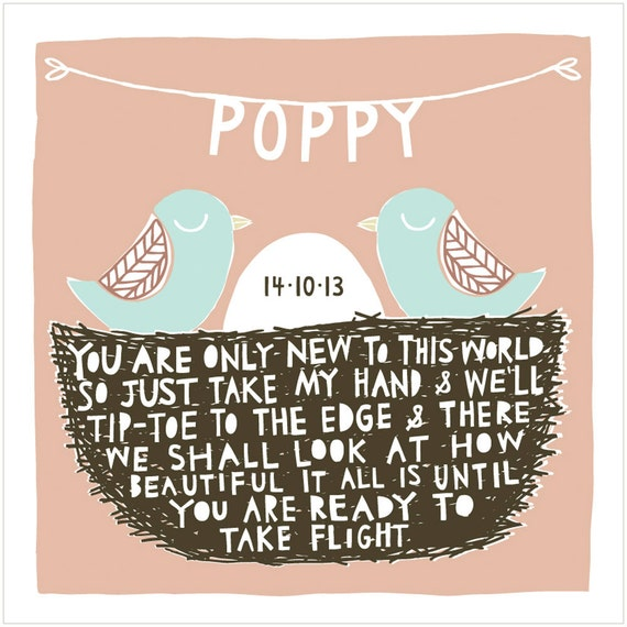 New To This World - Personalised Birth Gift Fine Art Print (Choice of 8 Colour Options)