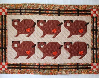 Six Little Piggies Quilted Wall Hanging