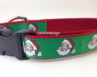 Christmas Dog Collar, Santa,1 inch wide, adjustable, quick release, metal buckle, chain, martingale, hybrid, nylon