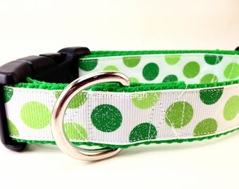 St Patrick's Dog Collar, Green Glitter Dots, 1 inch wide, adjustable, quick release, medium, 11-14 inches