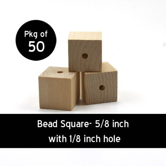 50 - Bead Square - 5/8 inch with 5/32 hole unfinished wood (WW-BE3040)