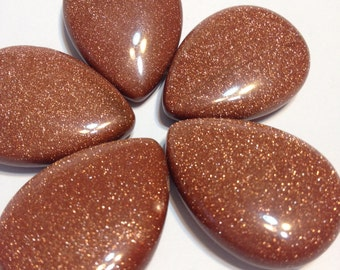 large Goldstone pendant focal top drilled flat pear shape 1 pendant
