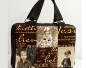 Bible Book Cover Case Bag Photo Picture Patchwork Custom Gift Sepia Brown