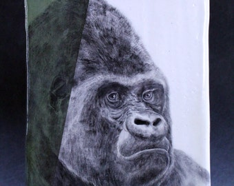 Hand Painted Silverback Gorilla Portrait Wall Tile Avocado