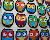 6 Chubby Fabric Iron On Owl Appliques