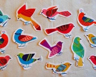 Fabric Iron On Applique Bird Set