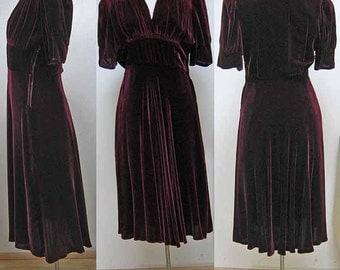 Vintage Velvet Wine Colored Dress
