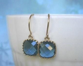 Sapphire Blue Earrings, Petite Earrings, Gold Earrings, Simple, Everyday Jewelry